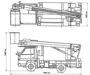 линейные размеры автовышки 15 метров